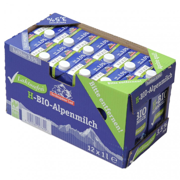 Berchtesgadener Bio H-Milch lactosefrei 1,5 % Tetra 12er